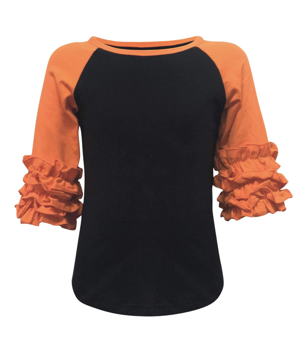ILTEX T-Shirts  Ruffle Raglan Black/Orange / 0-1 Icing Ruffle Top Kids
