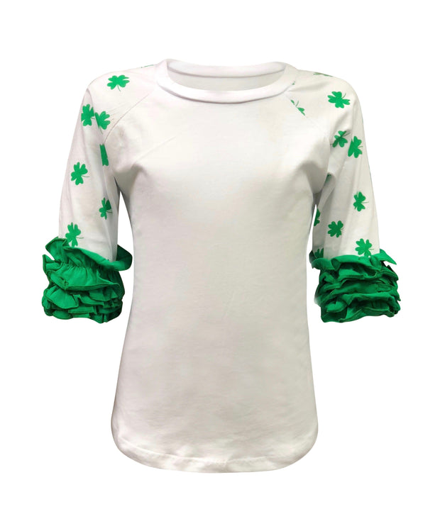 ILTEX T-Shirts Ruffle Raglan St. Patricks White Shamrock Ruffle Top Kids