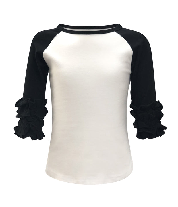 ILTEX T-Shirts  Ruffle Raglan White/Black / 0-1 Icing Ruffle Top Kids
