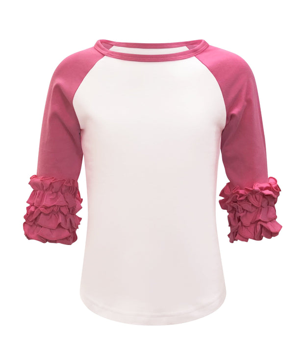 ILTEX T-Shirts  Ruffle Raglan White/Hot Pink / 0-1 Icing Ruffle Top Kids