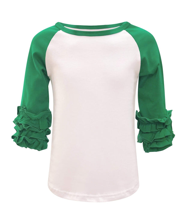 ILTEX T-Shirts  Ruffle Raglan White/Kelly Green / 0-1 Icing Ruffle Top Kids