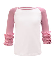 ILTEX T-Shirts  Ruffle Raglan White/Light Pink / 0-1 Icing Ruffle Top Kids