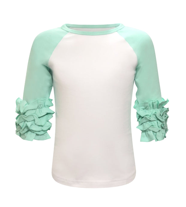 ILTEX T-Shirts  Ruffle Raglan White/Mint / 0-1 Icing Ruffle Top Kids
