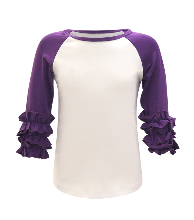 ILTEX T-Shirts  Ruffle Raglan White/Purple / 0-1 Icing Ruffle Top Kids