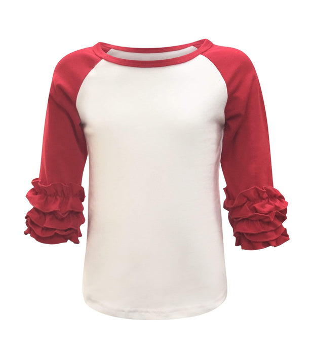 ILTEX T-Shirts  Ruffle Raglan White/Red / 0-1 Icing Ruffle Top Kids