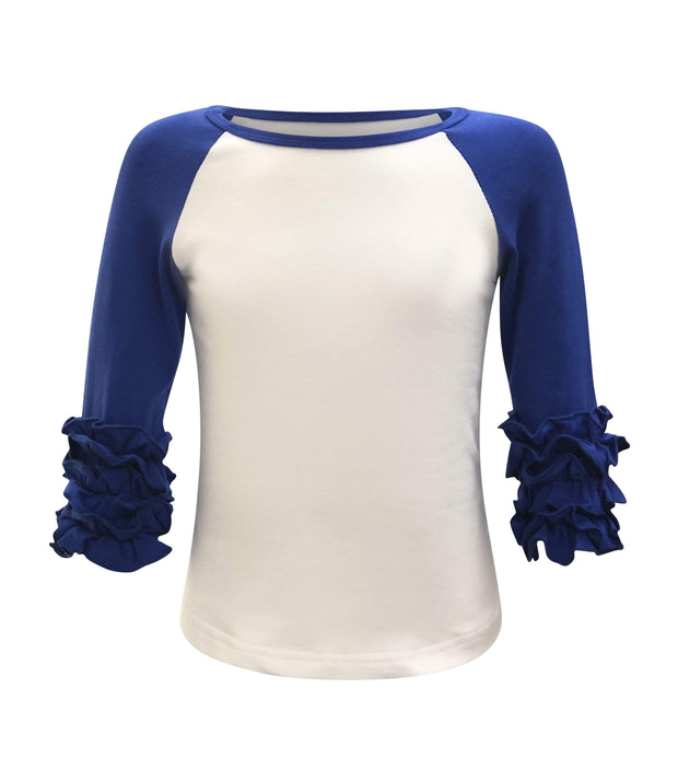 ILTEX T-Shirts  Ruffle Raglan White/Royal / 0-1 Icing Ruffle Top Kids