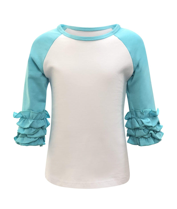ILTEX T-Shirts  Ruffle Raglan White/Tiffany / 0-1 Icing Ruffle Top Kids