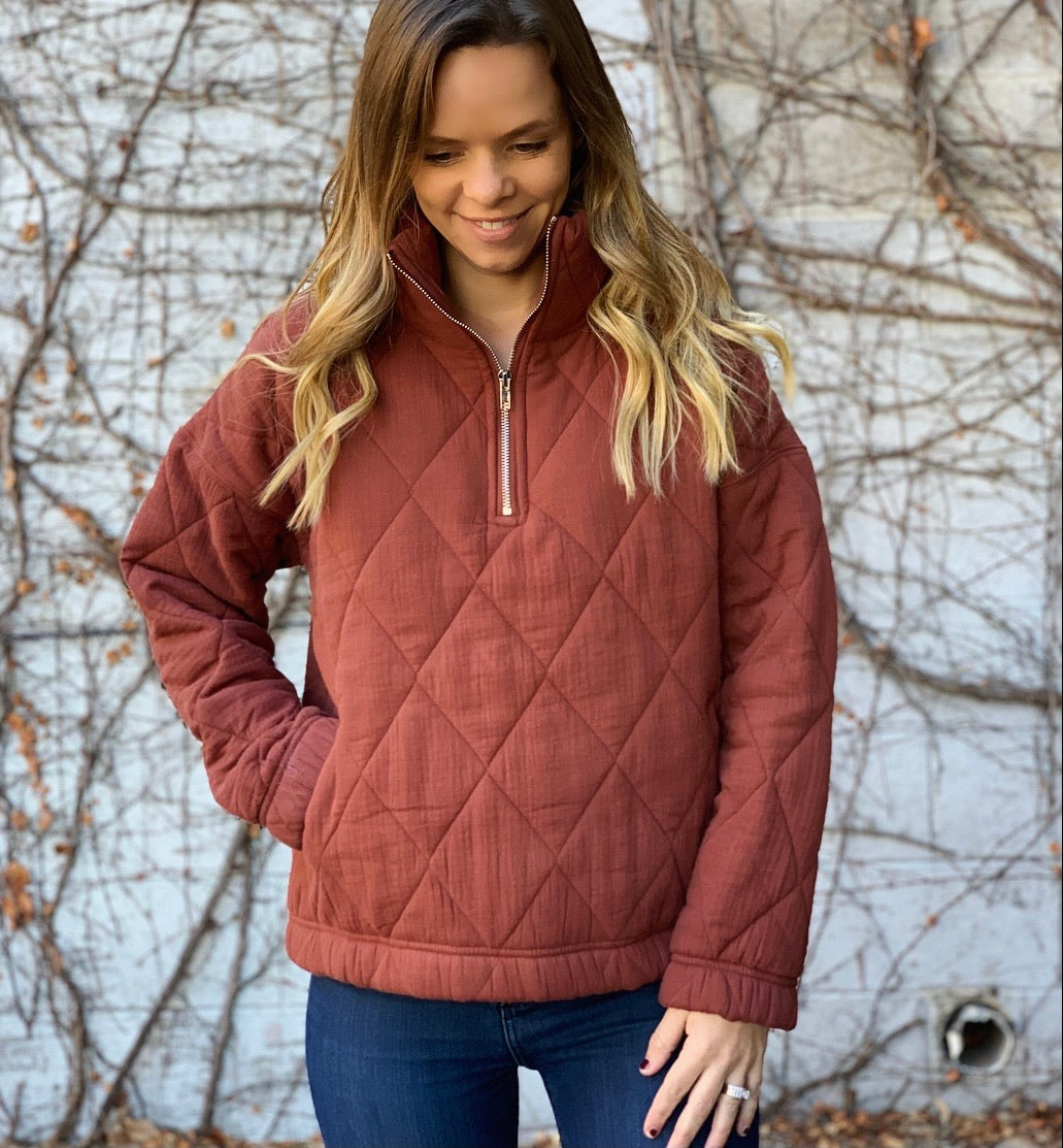 Cinnamon Quilted Sweatshirt