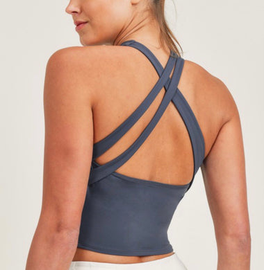 Cross Cross Bra [blue grey]