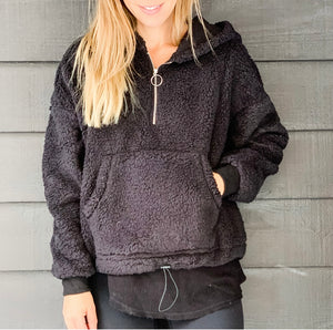 Sherpa Hooded Zip [black]