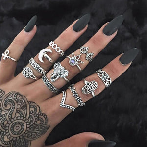 Vintage Women crystal  Rings Set