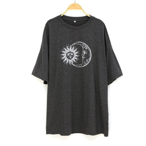 Sun Moon Print Loose T-Shirt