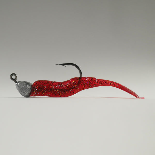 "1/4 oz - 3/0 FISH HEAD JIGHEAD (qty 5) + AATB / Esky 3"" Soft Plastic Shrimp (qty 25) - CRANBERRY"