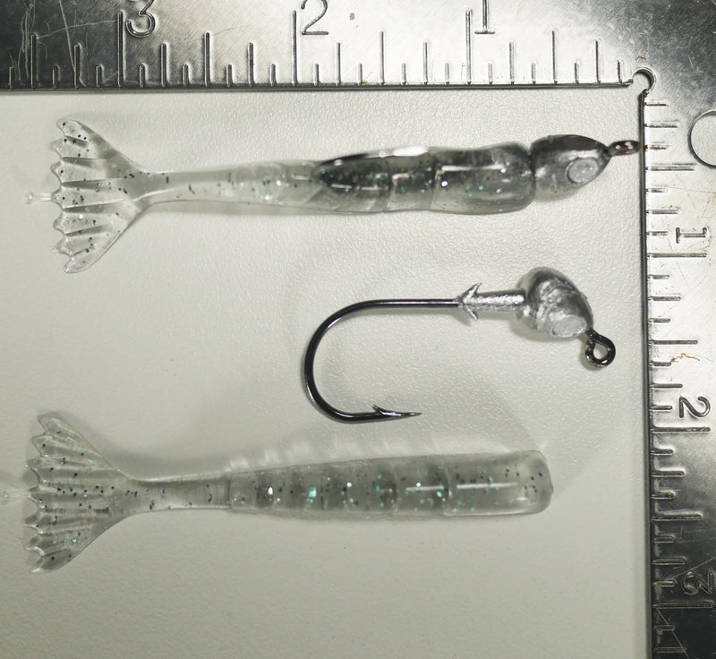 "1/4 oz - 3/0 FISH HEAD JIGHEAD (qty 5) + AATB / Esky 3"" Soft Plastic Shrimp (qty 25) - NATURAL GRAY"