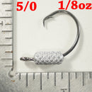 MIXED WEIGHT (1/32, 1/16, 1/8 OZ). - 4/0 + (1/8 OZ) - 5/0 - Weighted Circle Hook Jig - FREE SHIPPING