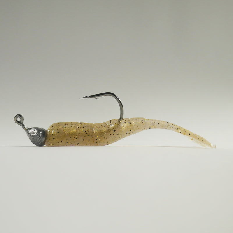 "1/8 oz - 3/0 FISH HEAD JIGHEAD (qty 5) + AATB / Esky 3"" Soft Plastic Shrimp (qty 25) - GOLD"