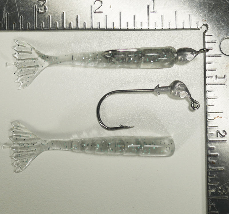 "1/8 oz - 3/0 FISH HEAD JIGHEAD (qty 5) + AATB / Esky 3"" Soft Plastic Shrimp (qty 25) - NATURAL GRAY"