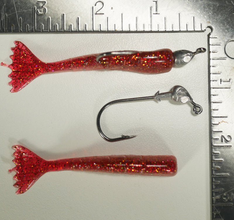 "1/8 oz - 3/0 FISH HEAD JIGHEAD (qty 5) + AATB / Esky 3"" Soft Plastic Shrimp (qty 25) - CRANBERRY"