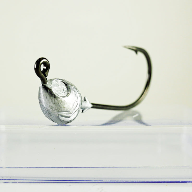 AATB Fish Head Jigheads - 1 oz - 8/0 Mustad 2X Heavy Duty Hook - 5,10, or 25 pack.  FREE SHIPPING