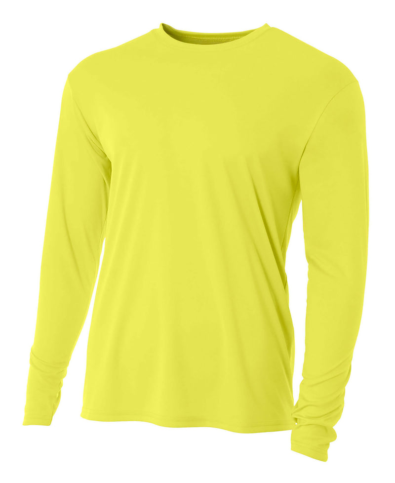 (Plain - No Logo) - SAFETY YELLOW - 100% Micro Fiber Polyester Performance Long Sleeve Shirt (FREE SHIPPING)