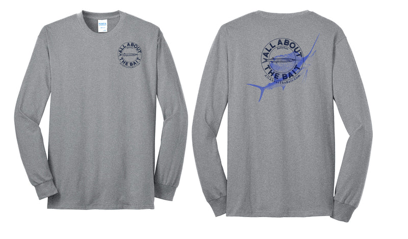 (5XL ONLY) Ballyhoo/Sailfish - Athletic Heather/Black - 50/50 Cotton/Polyester Long Sleeve Shirt  (FREE SHIPPING) ***