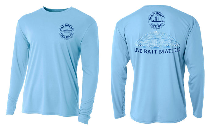LIVE BAIT MATTERS - Light Blue - Long Sleeve Performance Shirt - 100% Polyester- FREE DELIVERY