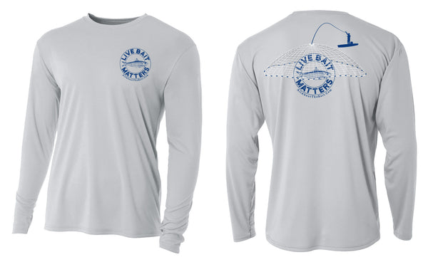 LIVE BAIT MATTERS - Silver - Long Sleeve Performance Shirt - 100% Polyester- FREE DELIVERY
