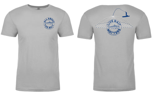 LIVE BAIT MATTERS - Short Sleeve T-shirt - Light Gray - 100% Combed Ringed-Spun Fine Jersey Cotton (FREE SHIPPING)