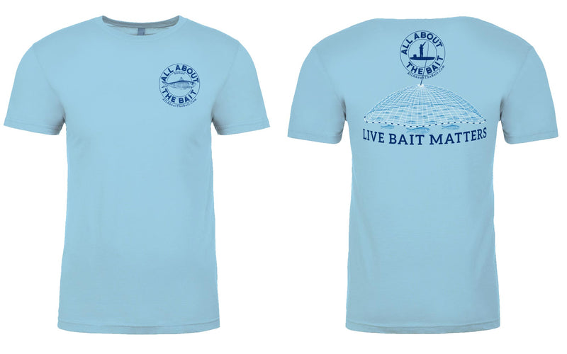 (BLEM) - SMALL - LIVE BAIT MATTERS - Short Sleeve T-shirt - Light Blue - 100% Combed Ringed-Spun Fine Jersey Cotton (FREE SHIPPING)
