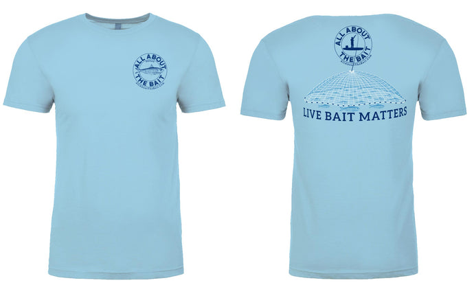 (BLEM) (ONE 3XL LEFT)******* - LIVE BAIT MATTERS - Light Blue - SHORT Sleeve Performance Shirt - 100% Polyester- FREE DELIVERY