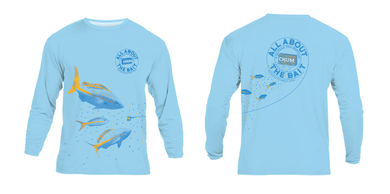 (+ FREE MASK) CHUM WITH YELLOWTAIL SNAPPER - Light Blue - COOLMAX - 100% Micro Fiber Polyester Performance Long Sleeve Shirt (FREE SHIPPING)