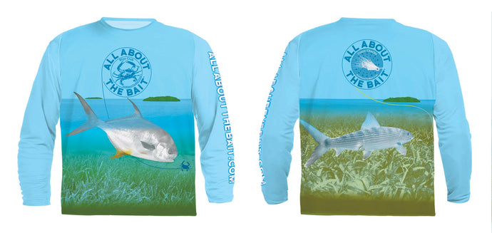 Flats Permit And Bonefish  - COOLMAX - 100% Micro Fiber Polyester Performance Long Sleeve Shirt (FREE SHIPPING)