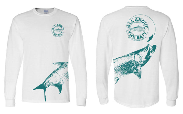 (size M,2XL,3XL)(FREE MASK) Pilchard With (EXTRA LARGE) Tarpon.  Long Sleeve Shirt White/Forest Green- (FREE SHIPPING)