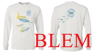 ***BLEM (MISSING SIDE PANEL) - Chum and Yellowtail Snapper.  Ashe (Gray Tweed) Long Sleeve Shirt (FREE SHIPPING)