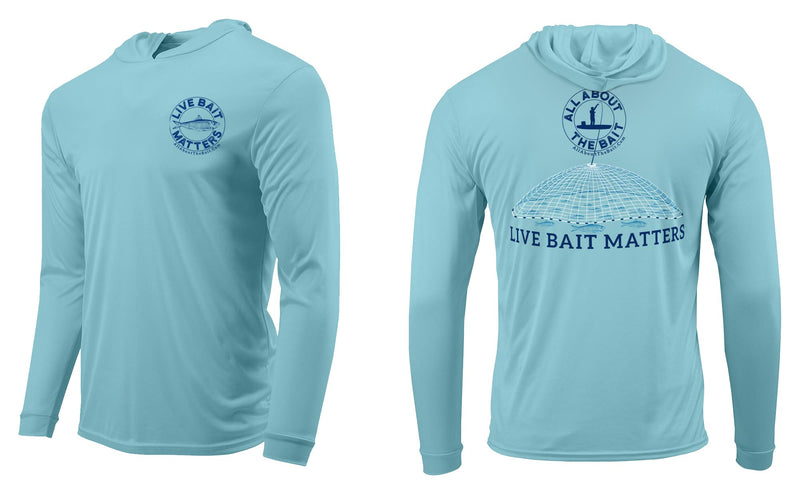 (BLEM) 3XL LIVE BAIT MATTERS HOODED - Aqua Blue - 50+ UPF - Long Sleeve Performance Shirt - 100% Polyester - FREE DELIVERY