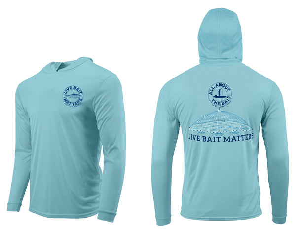 (FREE MASK) LIVE BAIT MATTERS HOODED - Aqua Blue - 50+ UPF - Long Sleeve Performance Shirt - 100% Polyester - FREE DELIVERY