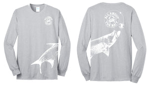 Blue Crab With Tarpon.  Long Sleeve Shirt Athletic Heather/White - 50/50 Cotton/Polyester Blend (FREE SHIPPING)