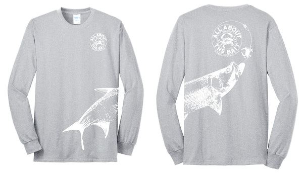 (size 3XL,4XL,5XL,6XL)(FREE MASK) Blue Crab With (EXTRA LARGE) Tarpon.  Long Sleeve Shirt Athletic Heather/White - 50/50 Cotton/Polyester Blend (FREE SHIPPING)