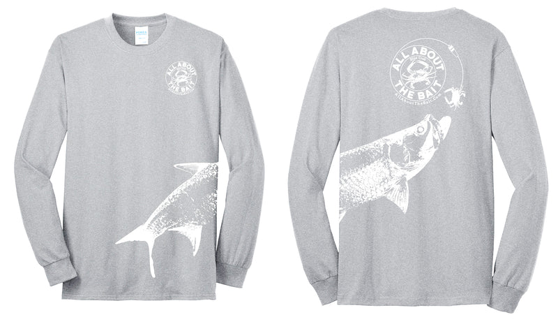 (size 3XL,5XL,6XL)(FREE MASK) Blue Crab With (EXTRA LARGE) Tarpon.  Long Sleeve Shirt Athletic Heather/White - 50/50 Cotton/Polyester Blend (FREE SHIPPING)