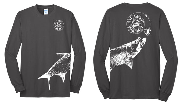 (size 3XL,6XL)(FREE MASK) Blue Crab With Tarpon.  Long Sleeve Shirt Charcoal/White - (FREE SHIPPING)