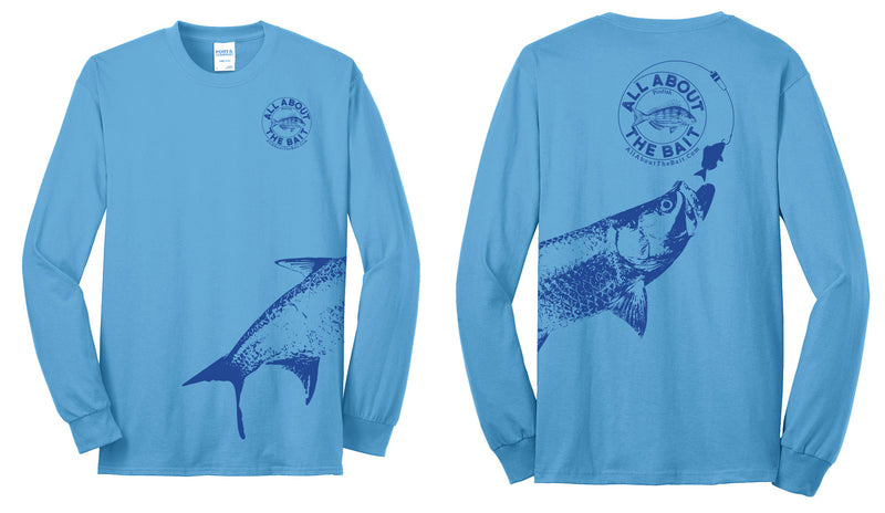 Pinfish With Tarpon.  Long Sleeve Shirt Aquatic Blue/Navy Blue- (FREE SHIPPING) ***Plus sizes +$2