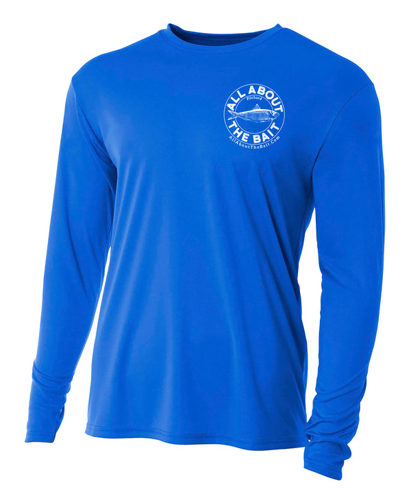 Pilchard (Scaled Sardine) - Royal Blue - 100% Micro Fiber Polyester Performance Long Sleeve Shirt  (FREE SHIPPING) ***4XL, 5XL, & 6XL SIZES ARE  PORT AND COMPANY 50/50 COTTON/POLYESTER BLEND.