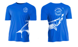 (BLEM)  Pinfish With Tarpon.  Royal Blue/White - 100% Micro Fiber Polyester Performance SHORT Sleeve Shirt (FREE SHIPPING)