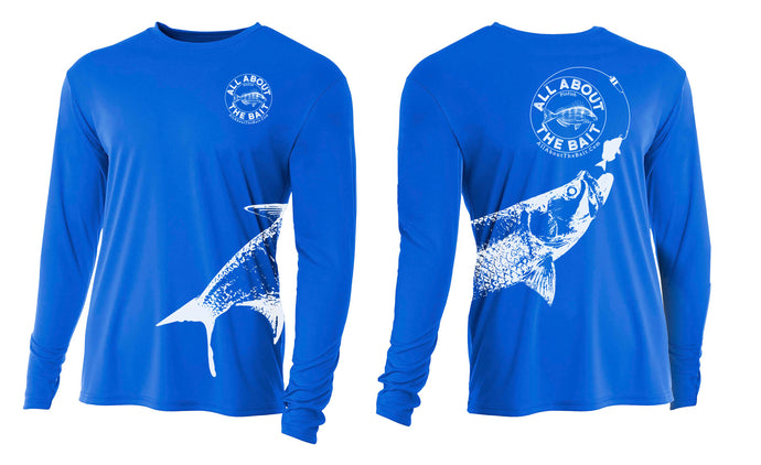 $15 ***(BLEM - Off Sized) Pinfish With Tarpon.  Royal Blue/White - COOLMAX - 100% Micro Fiber Polyester Performance Long Sleeve Shirt (FREE SHIPPING)