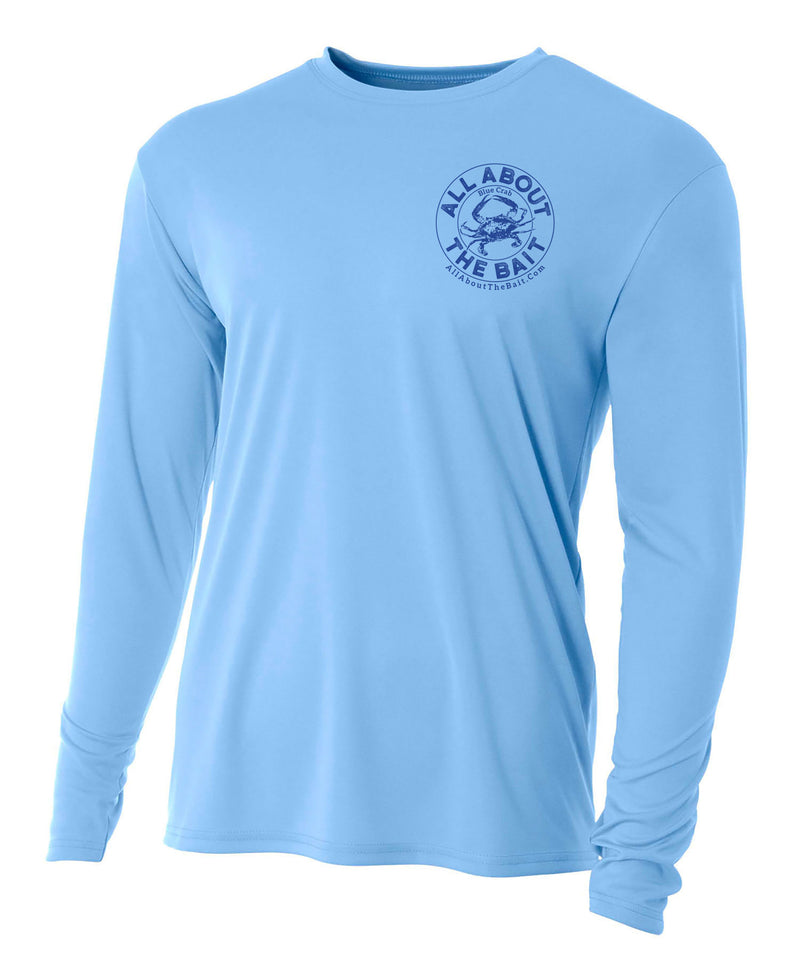 Blue Crab - Light Blue - 100% Micro Fiber Polyester Performance Long Sleeve Shirt (FREE SHIPPING) *4XL, 5XL, & 6XL SIZES ARE  PORT AND COMPANY 50/50 COTTON/POLYESTER BLEND.