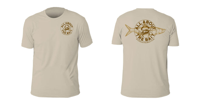 Blue Crab/Tarpon Short Sleeve T-shirt - Sand Color - 100% Combed Ringed-Spun Fine Jersey Cotton (FREE SHIPPING)