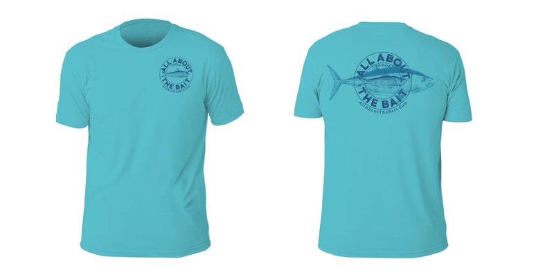 Pilchard/Blackfin Tuna Short Sleeve T-shirt - Tahiti Blue Color - 100% Combed Ringed-Spun Fine Jersey Cotton (FREE SHIPPING)