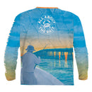(+ FREE TARPON OR BLUE CRAB FACE MASK) - BAHIA HONDA BRIDGE TARPON ft. BLUE CRAB - COOLMAX - 100% Micro Fiber Polyester Performance Long Sleeve Shirt (FREE SHIPPING)