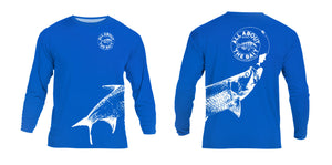 Pinfish With Tarpon.  Royal Blue/White - COOLMAX - 100% Micro Fiber Polyester Performance Long Sleeve Shirt (FREE SHIPPING)