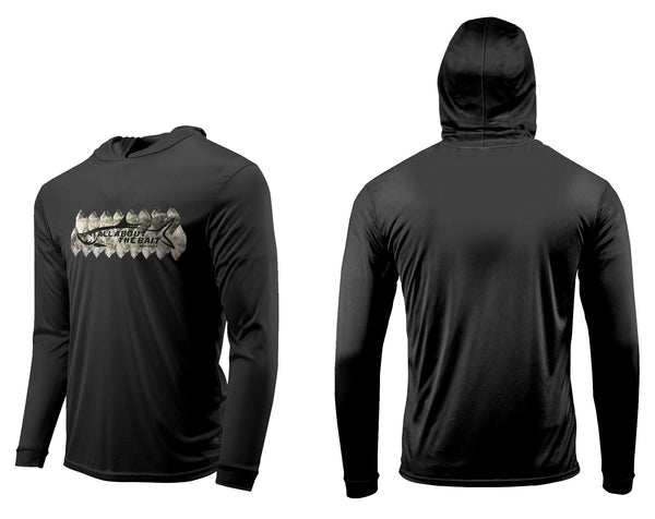 (FREE MASK) TARPON SCALES HOODED - Black - 50+ UPF - Long Sleeve Performance Shirt - 100% Polyester - FREE DELIVERY